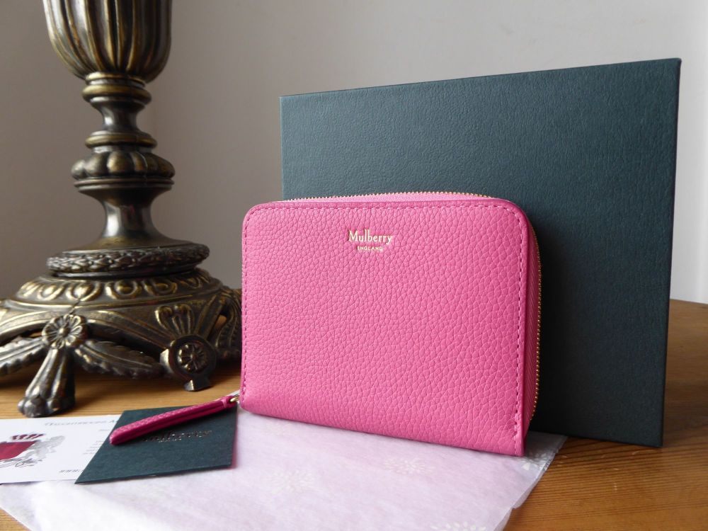 Mulberry Compact Zip Around Purse Wallet in Candy Pink Small Classic Grain