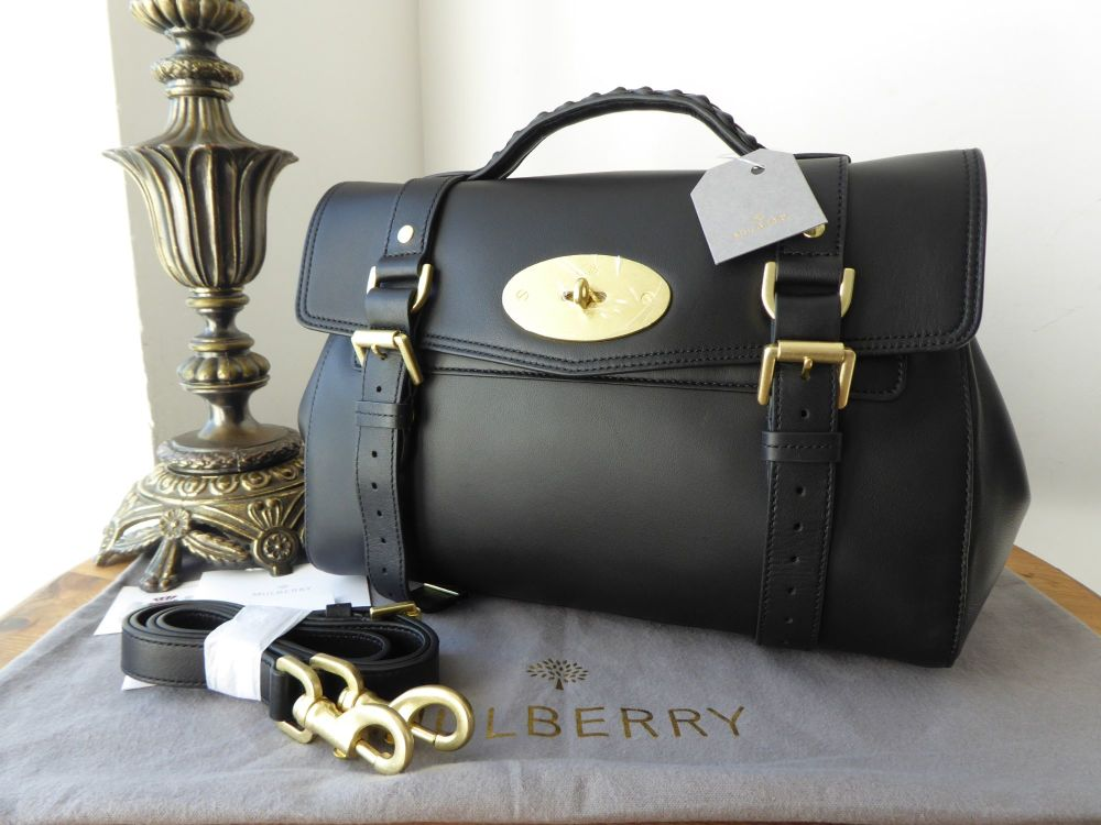 Mulberry Regular Alexa Satchel in Black Lamb Nappa Leather with Golden Bras