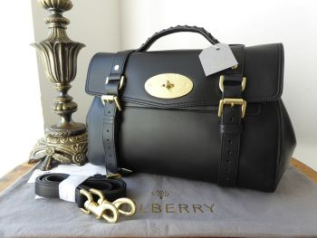 Mulberry Regular Alexa Satchel in Black Lamb Nappa Leather with Golden Brass Hardware - New*