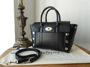 Mulberry Small Bayswater Satchel in Black Smooth Calf with Studs