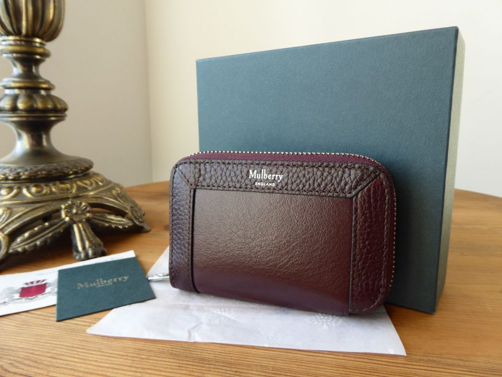 Mulberry Small Zip Around Multicard Purse Wallet in Oxblood Smooth Calf & G