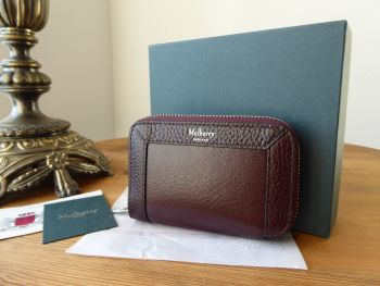 Mulberry Small Zip Around Multicard Purse Wallet in Oxblood Smooth Calf & Grained Leather - New