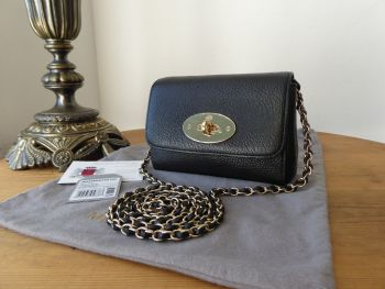 Mulberry Mini Lily in Black Glossy Goat with Shiny Gold Hardware - New*
