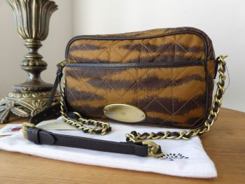 Mulberry Rosie Zipped Satchel Camera Bag in Tiger Print Oak Quilted Nylon & Calfskin - New*
