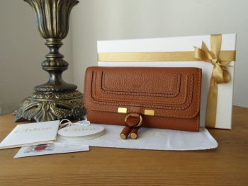 Chloe Marcie Continental Long Flap Purse Wallet in Tan Calfskin