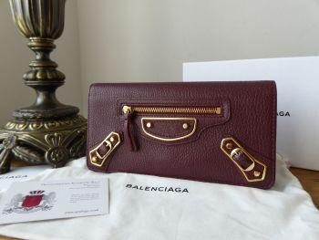 Balenciaga Metallic Edge Classic Money Continental Flap Purse Wallet in Bordeaux Goatskin Chevre