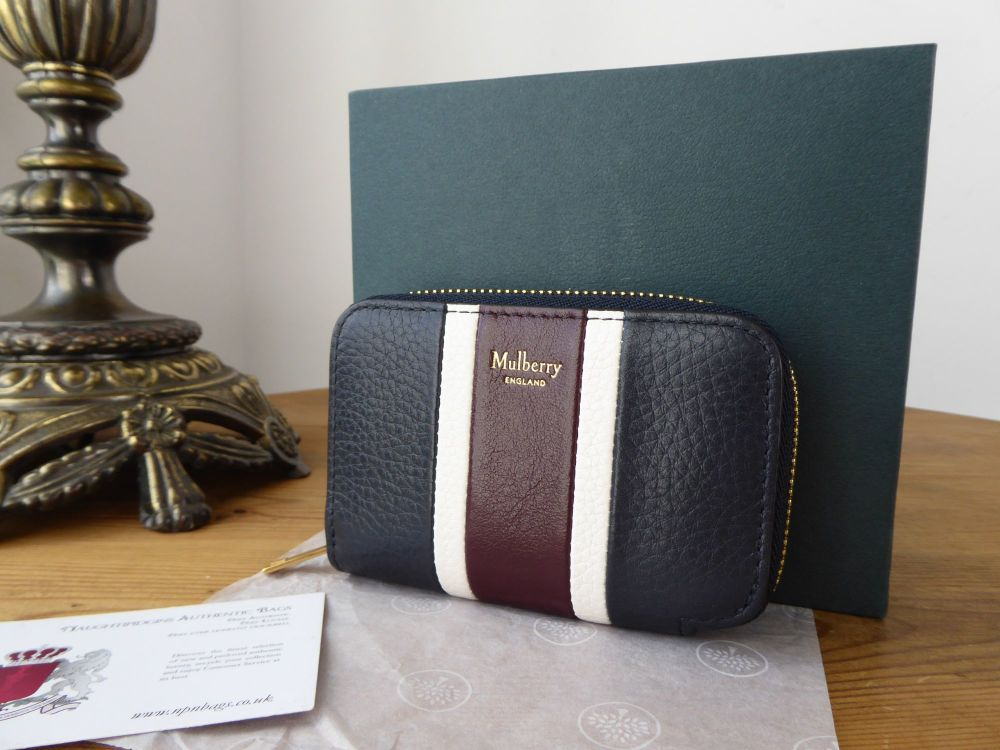 Mulberry College Stripe Zipped Multicard Purse in Navy and Oxblood Smooth C