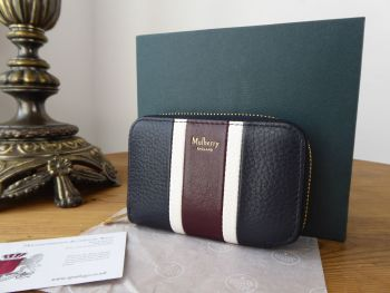 Mulberry College Stripe Zipped Multicard Purse in Navy and Oxblood Smooth Calf & Grained Leather