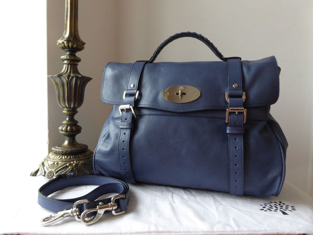 Mulberry Oversized Alexa in Slate Blue Soft Buffalo Leather with Silver Har
