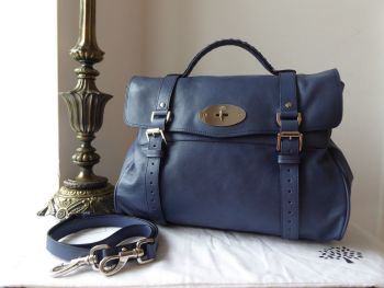 Mulberry Oversized Alexa in Slate Blue Soft Buffalo Leather with Silver Hardware