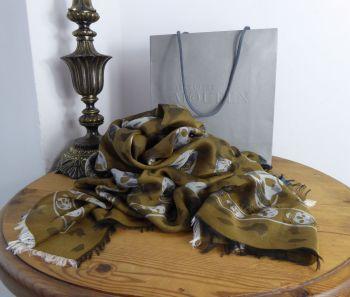 Alexander McQueen Leopard Print Skull Scarf in Khaki Green Laquer Grey Cotton