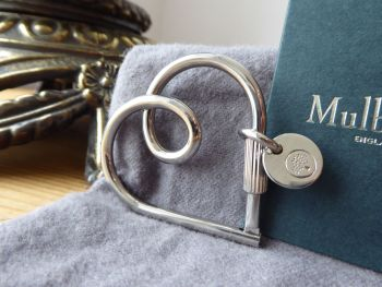 Mulberry Looped Heart Bag Charm Keyring in Silver Brass - SOLD