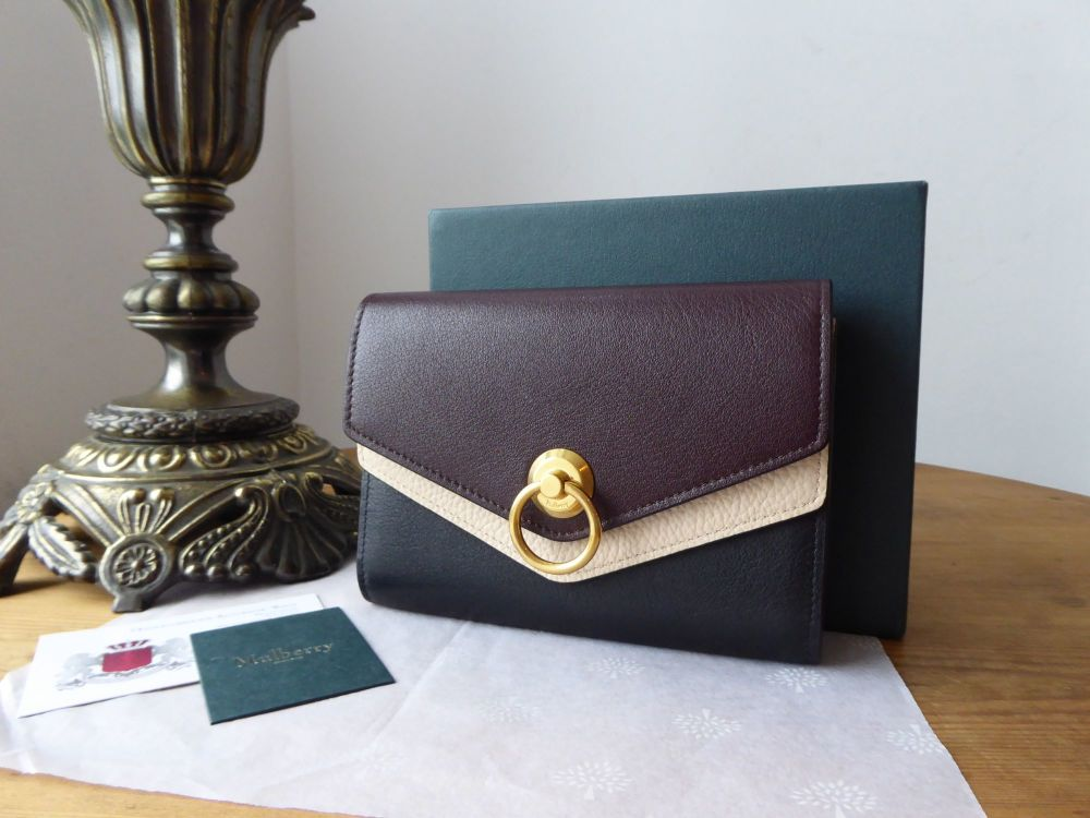 Mulberry Harlow Medium Wallet Purse in Tricolore Oxblood Black & Cream Silk