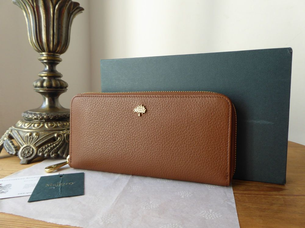Mulberry Tree Zip Around Long Continental Wallet Purse in Oak Small Classic