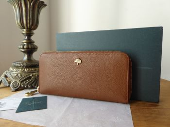 Mulberry Tree Zip Around Long Continental Wallet Purse in Oak Small Classic Grain Leather - New