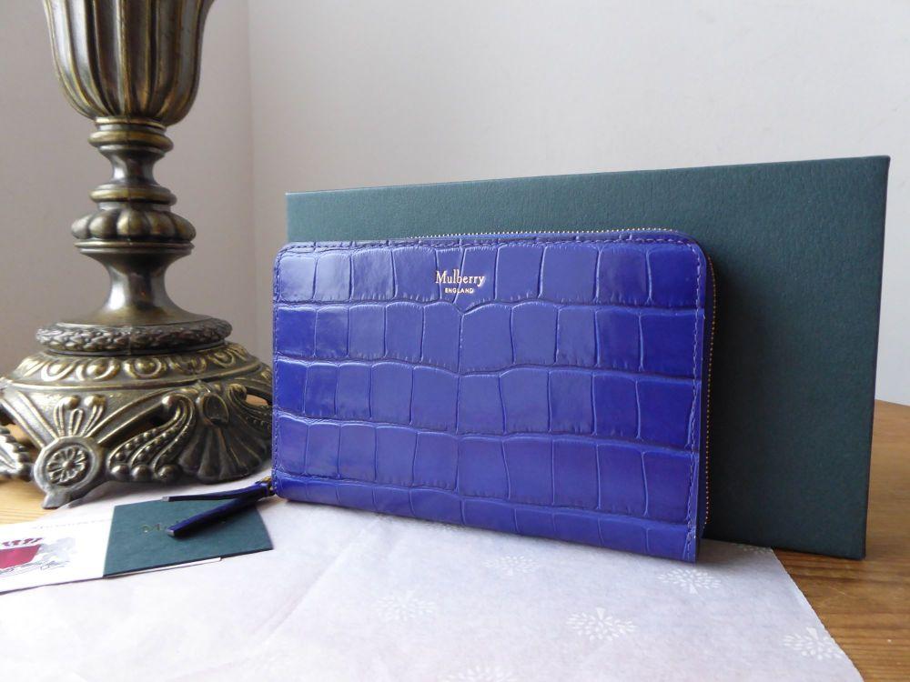 Mulberry Medium Zip Around Wallet Purse in Cobalt Blue Shiny Croc Printed L