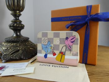 Louis Vuitton Limited Edition Zippy Coin Purse Forest Birds in Damier Azur Rose Ballerine