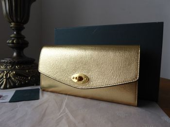 Mulberry Darley Postmans Lock Continental Purse Wallet in Metallic Gold Printed Goat