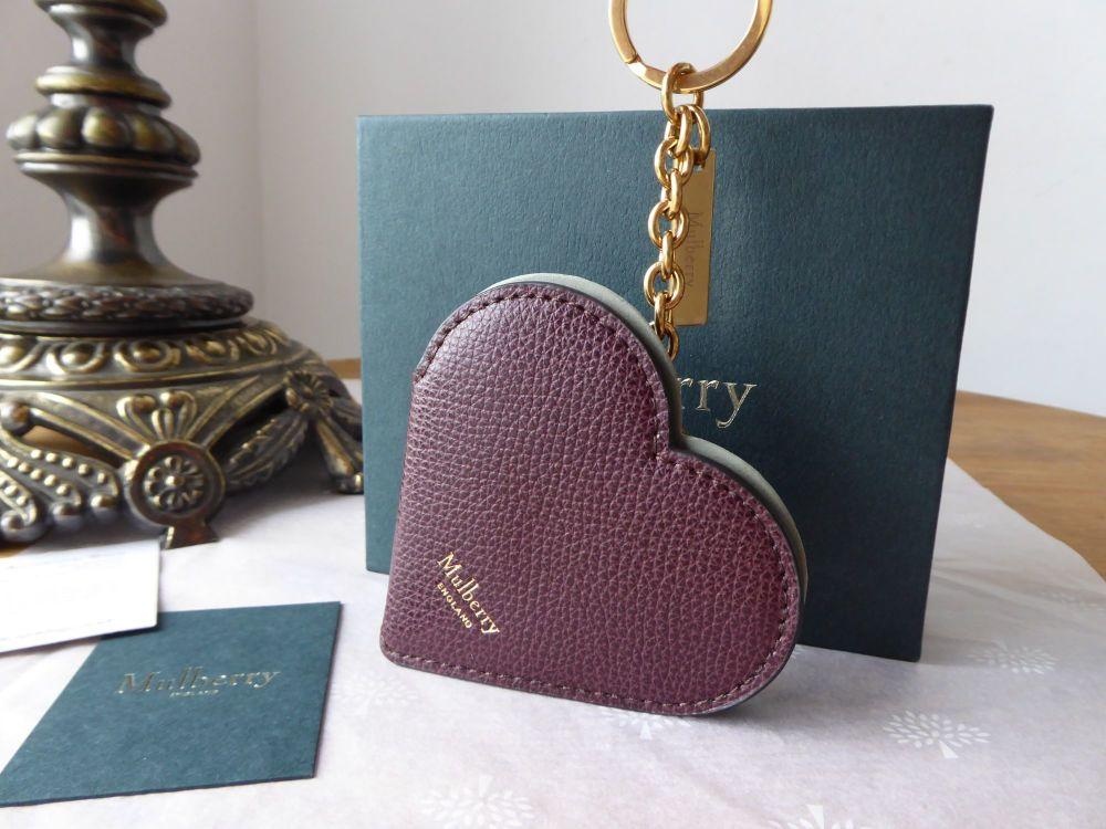 Mulberry Heart Portrait Keyring in Oxblood Cross Grain Leather & Pale Slate