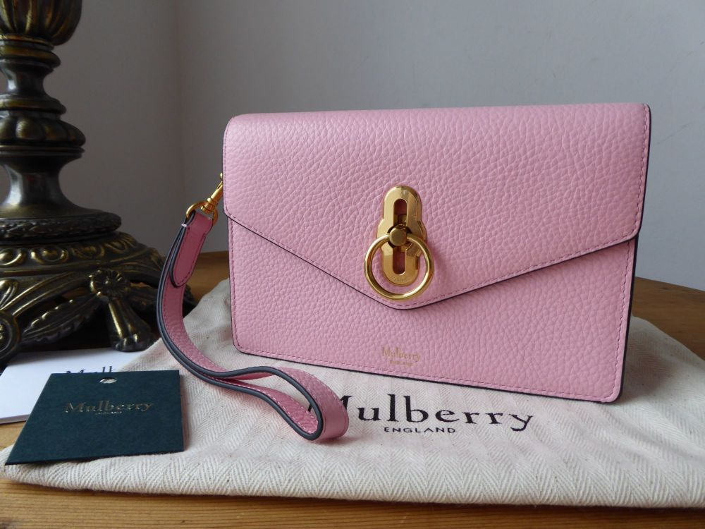 Mulberry Amberley iPhone Wristlet Clutch in Pink Sorbet Classic Grain- New