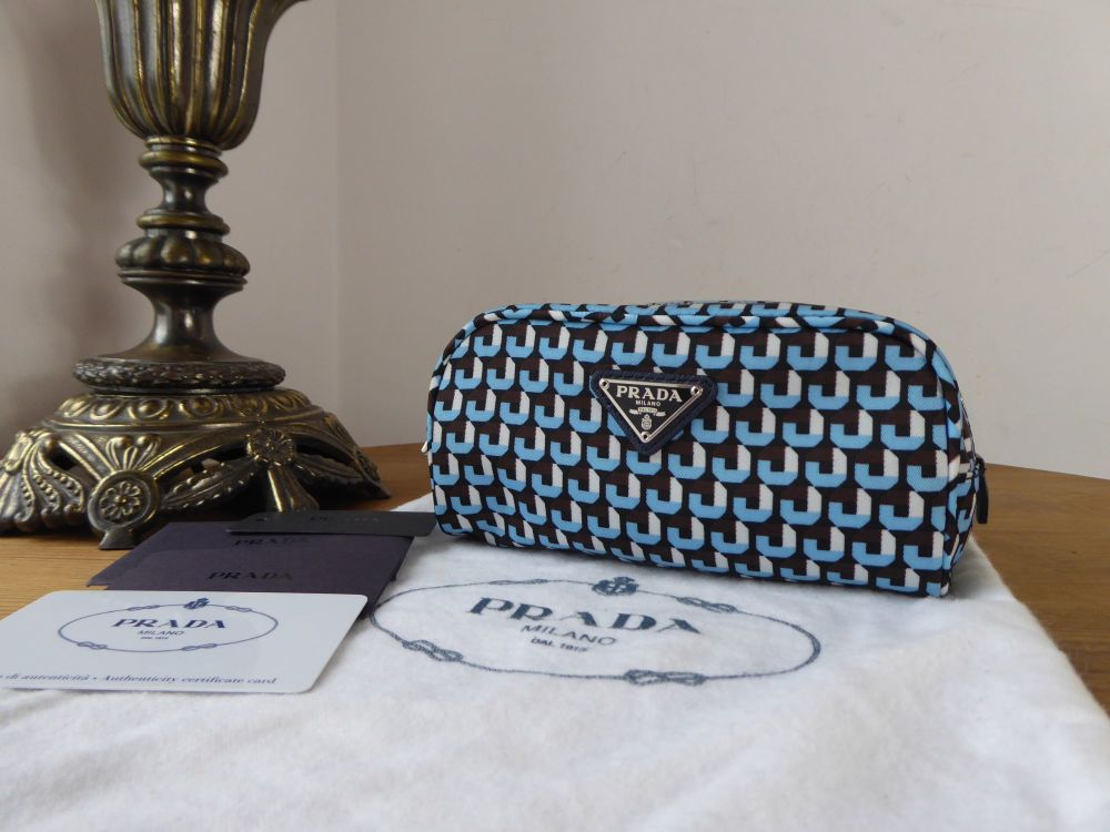 Prada Small Zipped Cosmetic Case in Azzurro Printed Tessuto - New*