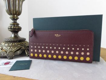 Mulberry Long Part Zip Continental Wallet & Coin Purse in Burgundy with Multicoloured Perforated Dots - New*