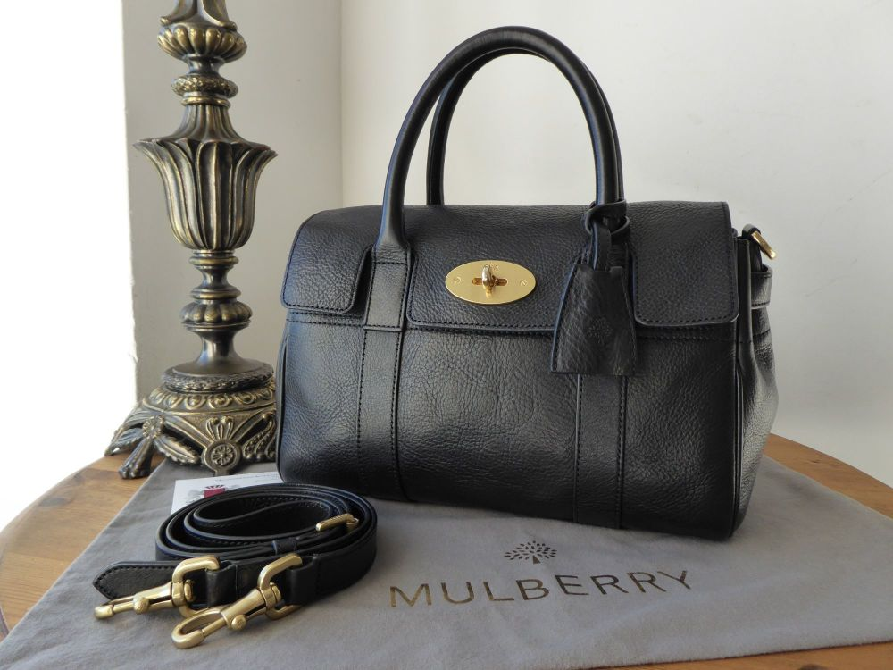 Mulberry Classic Small Bayswater Satchel in Black Natural Vegetable Tanned