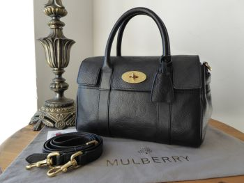 Mulberry Classic Small Bayswater Satchel in Black Natural Vegetable Tanned Leather