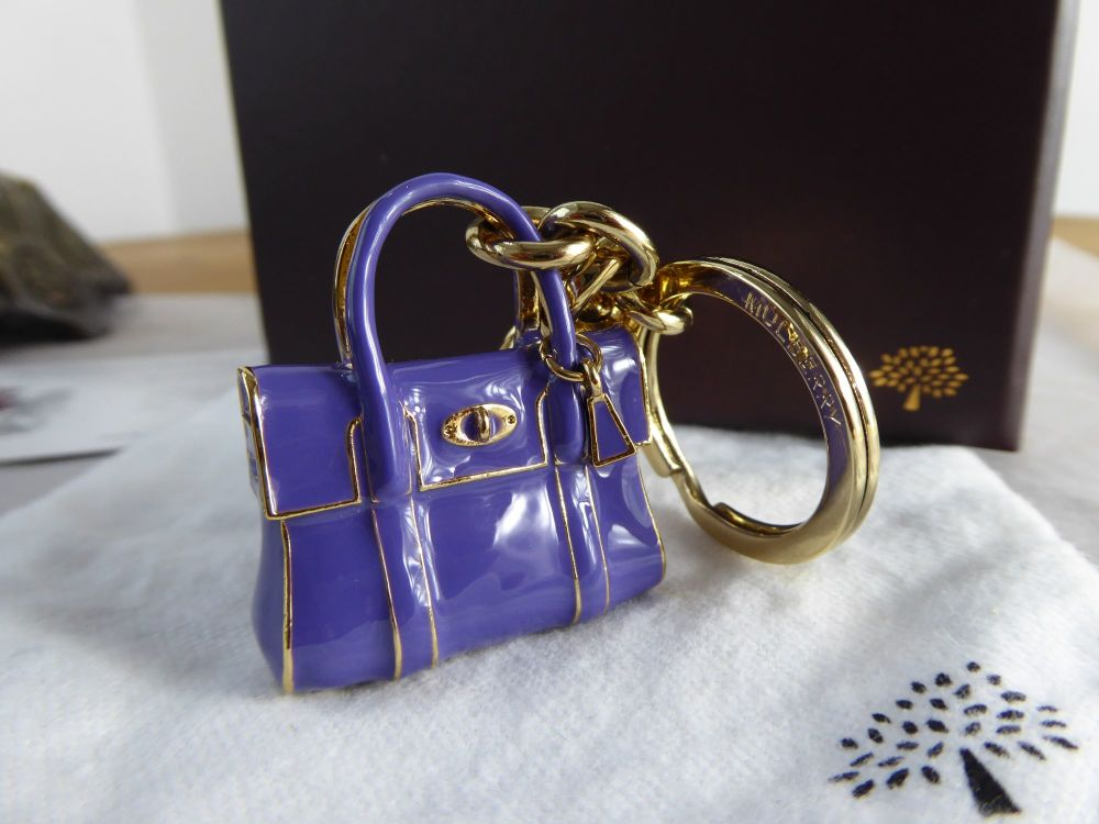 Mulberry Mini Bayswater Keyring Bag Charm in Blueberry Enamel - As New