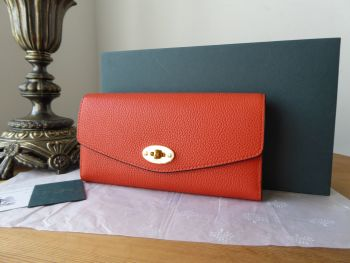 Mulberry Darley Continental Purse Wallet in Tangerine Orange Small Classic Grain - New