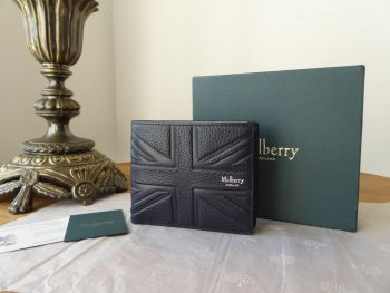 Mulberry Union Jack Flag Embossed Mens Wallet in Midnight Small Classic Grain - As New