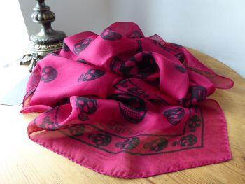 Alexander McQueen Skull Scarf in Raspberry Pink 100% Silk Chiffon - As New