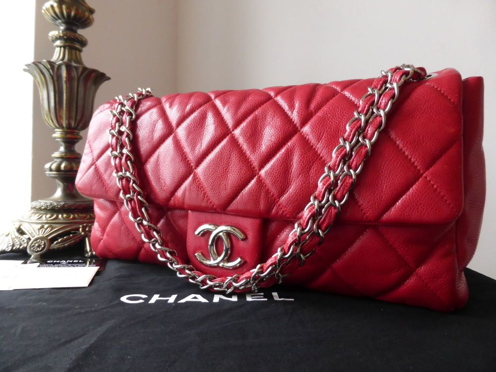 Chanel XL Nature Flap in Red Glazed Caviar with Shiny Silver Hardware