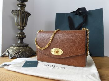 Mulberry Small Darley Shoulder Clutch in Oak Natural Grain Leather - New