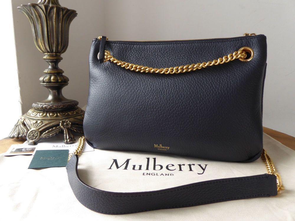 Mulberry Winsley in Midnight Blue Grained Lambskin