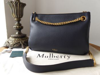 Mulberry Winsley Shoulder Bag in Midnight Blue Grained Lambskin