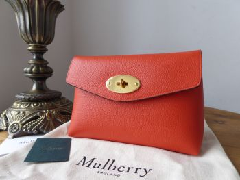 Mulberry Darley Cosmetic Pouch in Tangerine Orange Small Classic Grain - New