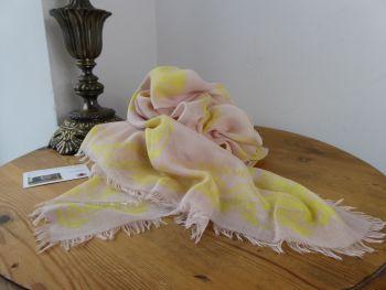 Alexander McQueen Baroque Skull Scarf in Pale Pink & Neon Yellow Silk Modal Mix