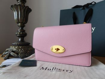 Mulberry Small Darley Shoulder Clutch in Sorbet Pink Small Classic Grain - New