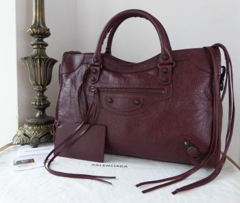 Balenciaga Classic City in Bordeaux Agneau with Dark Brass Hardware