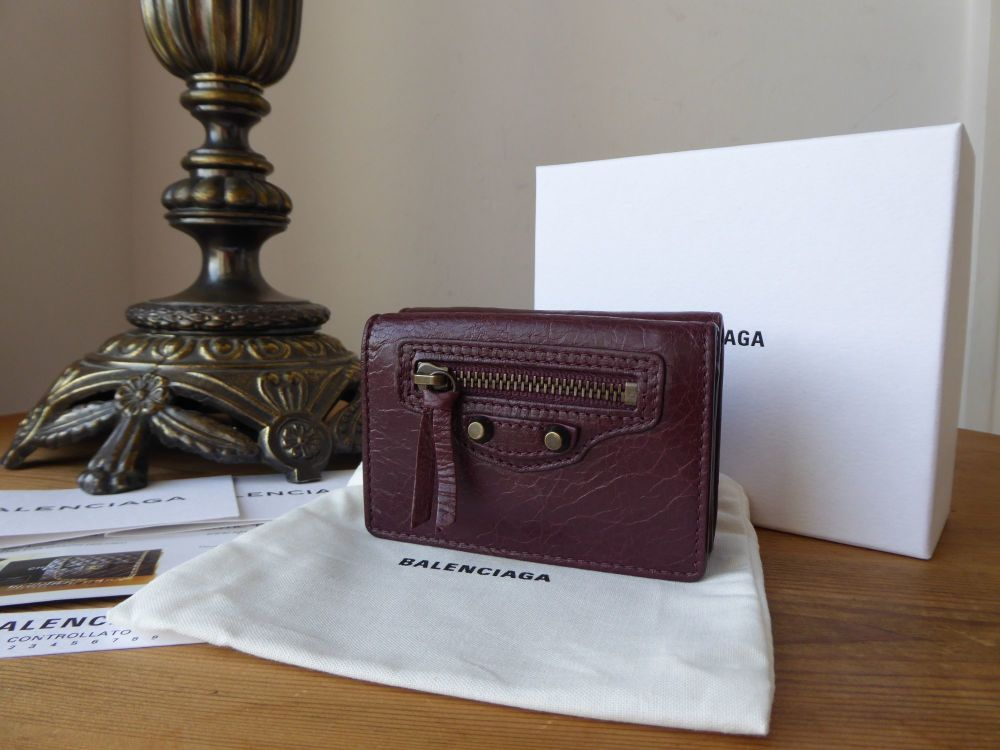 Balenciaga Classic Mini Wallet Purse in Bordeaux Agneau