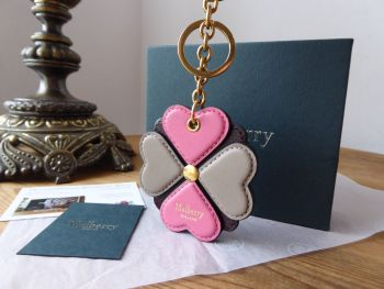 Mulberry Flower Keyring Bag Charm in Geranium Pink, Clay and Oxblood Silky Calf - New