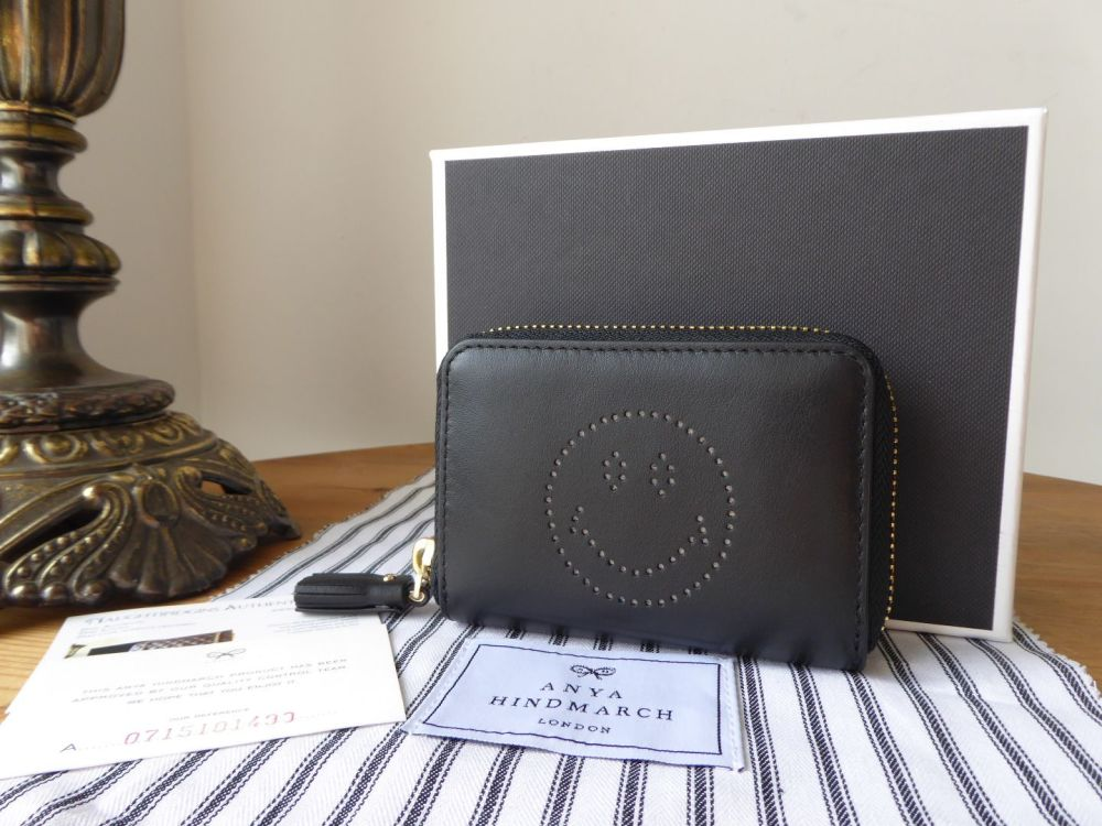 Anya Hindmarch Smiley Zip Around Card Coin Purse in Black Circus Leather -