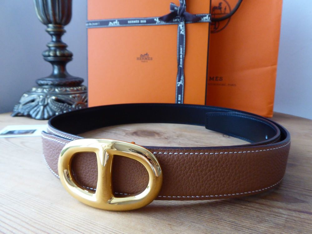 Hermès Chaîne d'Ancre Reversible Belt Kit 90 cm in Gold Togo & Black with G