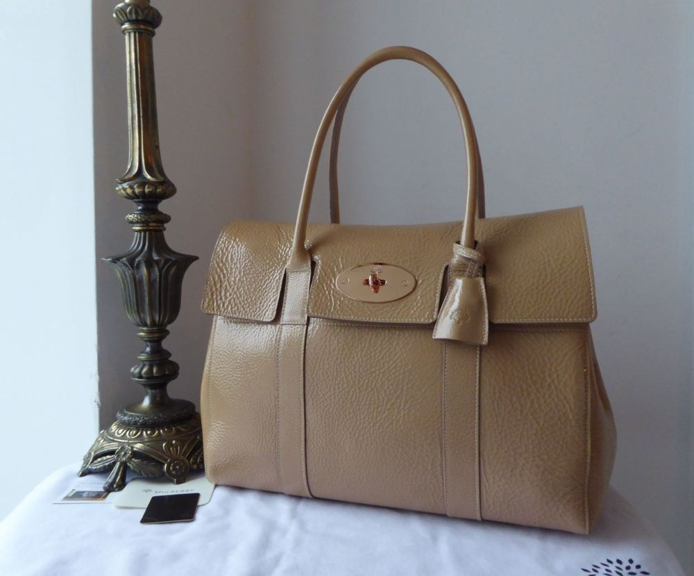 Mulbery Classic Bayswater in Nude Spongy Patent with Rose Gold Hardware