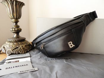 Balenciaga Plaque Belt Bag Bum Bag in Black Calfskin - New*