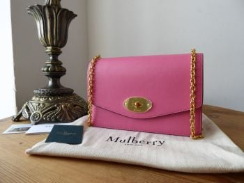 Mulberry Small Darley Shoulder Clutch in Geranium Pink Silky Calf - New