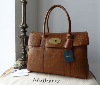 Mulberry Classic Heritage Bayswater in Oak Croc Printed Natural Vegetable Tanned Leather - New