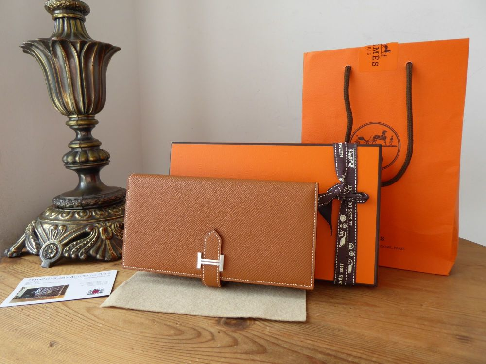 Hermès Béarn Soufflet Bifold Wallet Purse in Gold Epsom Calfskin with Palla