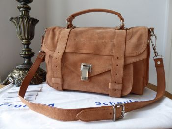 Proenza Schouler PS1 Medium in Fawn Suede with Antiqued Silver Hardware